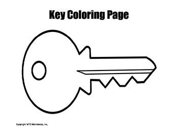 Printable Key Coloring Page Worksheet Classroom Coloring Pages