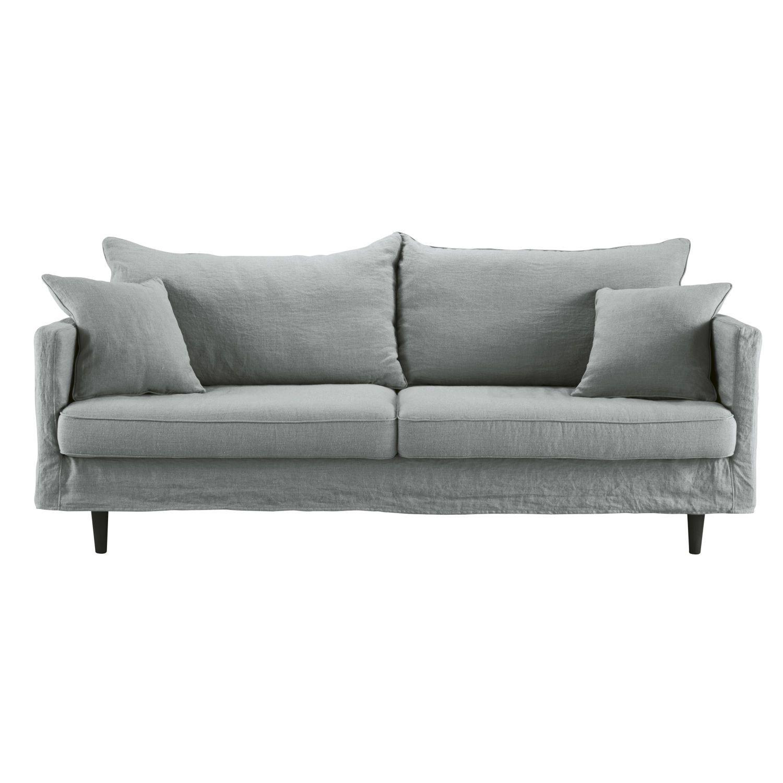 3 Sitzer Sofa Bezug Aus Gewaschenem Leinen Hellgrau Maisons Du Monde Sofa Sofa Scandinavian Style Linen Sofa