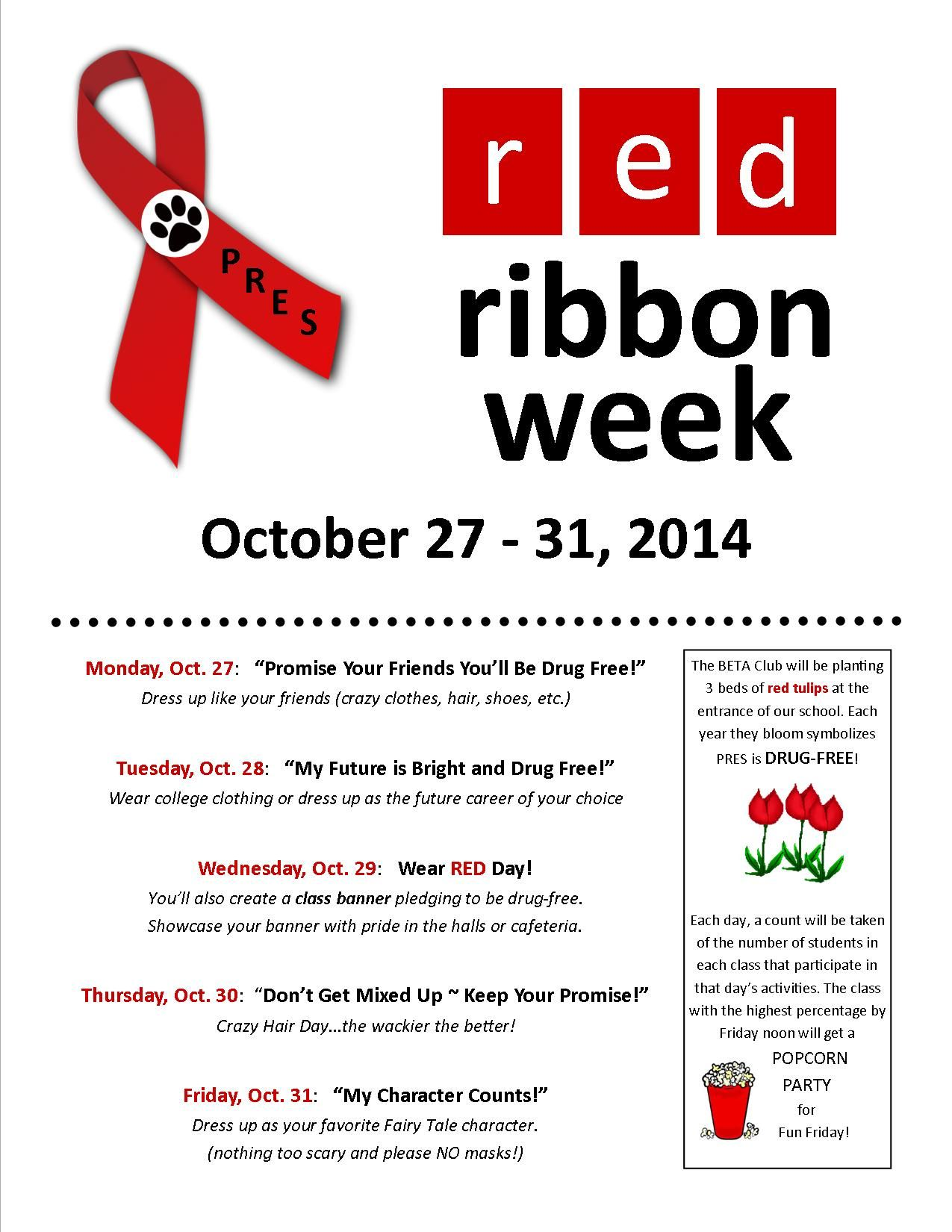 Red Ribbon Week October 27 31 Poplar Road Elementary Pto Red Ribbon Week Red Ribbon Elementary School Counseling [ 1650 x 1275 Pixel ]