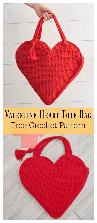Valentine Heart Tote Bag Free Crochet Pattern Pinterest