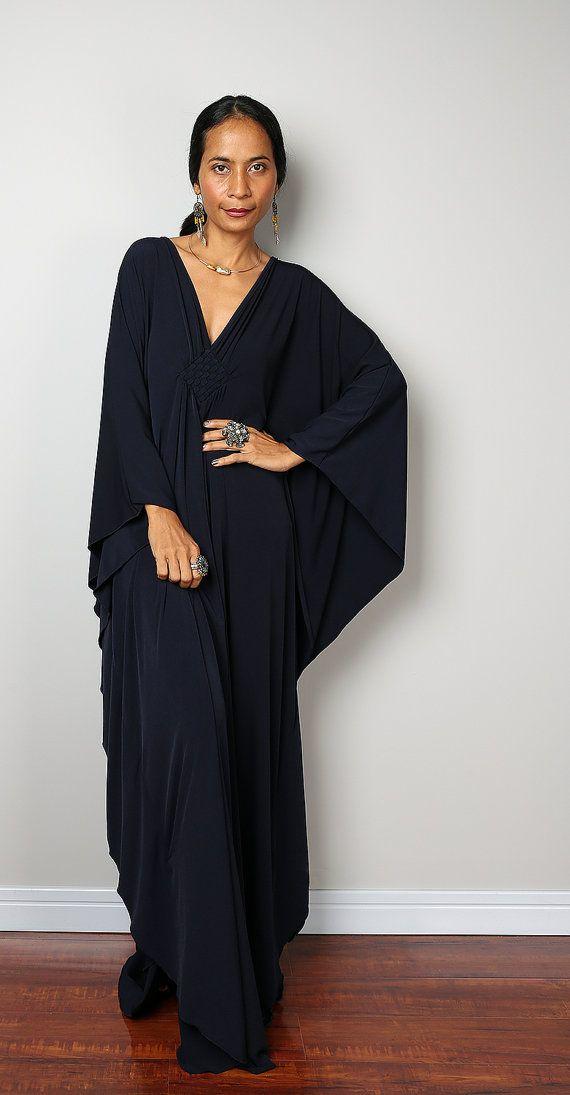 Navy Blue Dress - Dark Blue Kaftan - Kimono Butterfly Dress: Funky ...