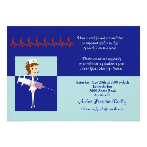 "pretty nurse graduation invitation "" x "" invitation card, 5 x 7 invitation cards, 5 x 7 invitation cardstock"