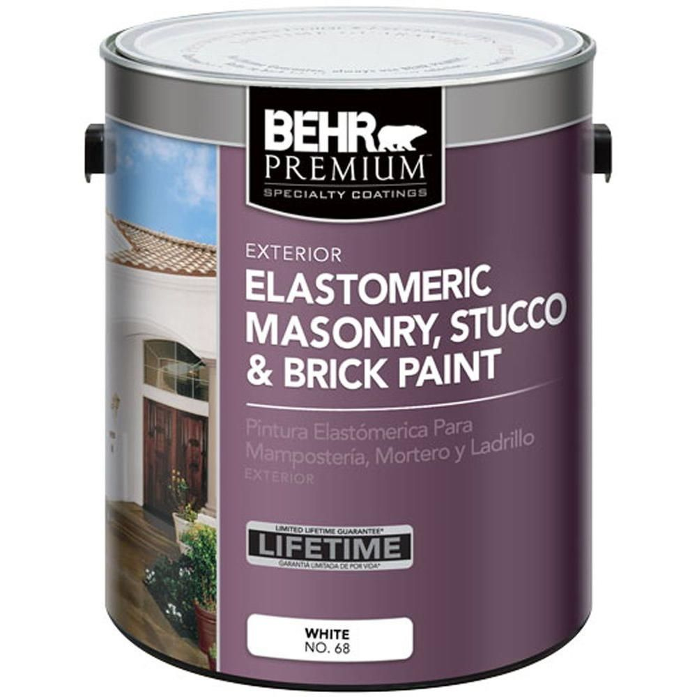 Behr Premium 1 Gal Elastomeric Masonry Stucco And Brick Exterior Paint 06801 The Home Depot Exterior Brick Stucco Repair Masonry