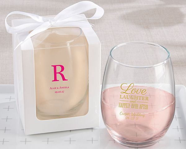 Personalized Wedding 9 Oz Stemless Wine Gl White Or Kraft Gift Box Available