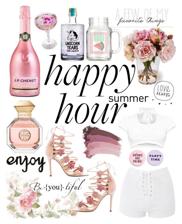 """""""Happy hour: girly edition🤘🏻"""" by emily-beuth ❤ liked on Polyvore featuring Topshop, ban.do, Cathy's Concepts, Marchesa, Gucci and Tory Burch"""