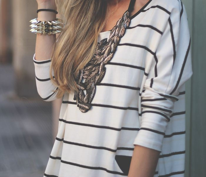 Striped top and chunky metal necklace