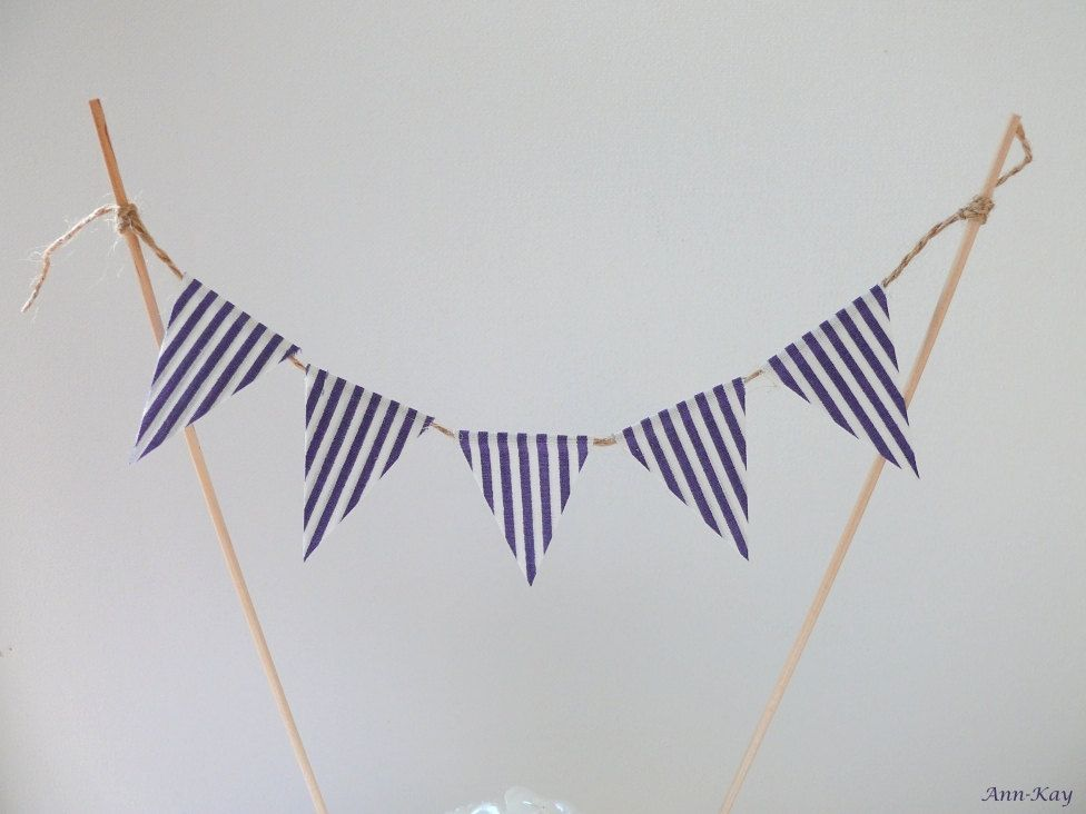 Cute Design Nautical Wedding Cake Topper Bunting Striped Pennant Banner Inspiration