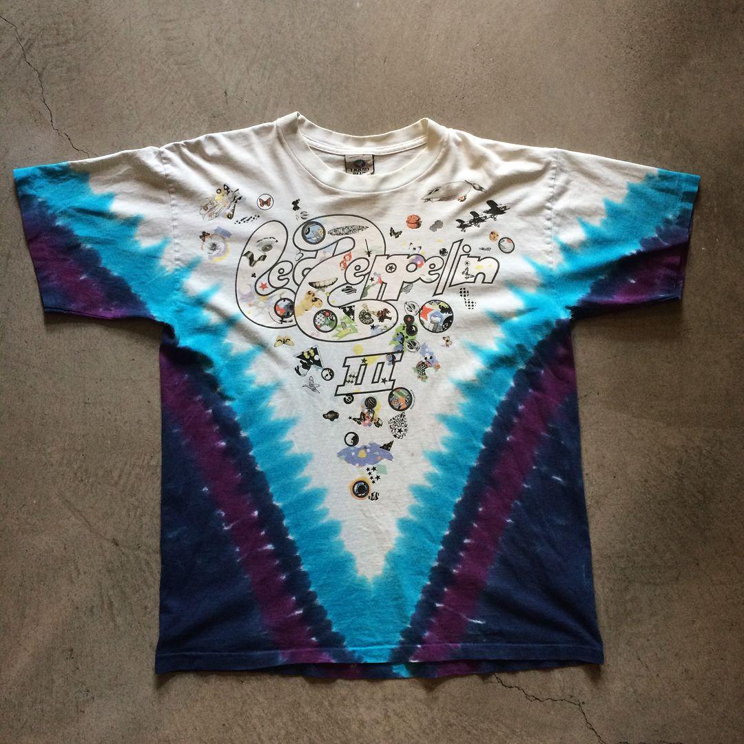 04147f91 2002 LED Zeppelin 3 Liquid Blue tye dye t-shirt, size L measures 22 ...