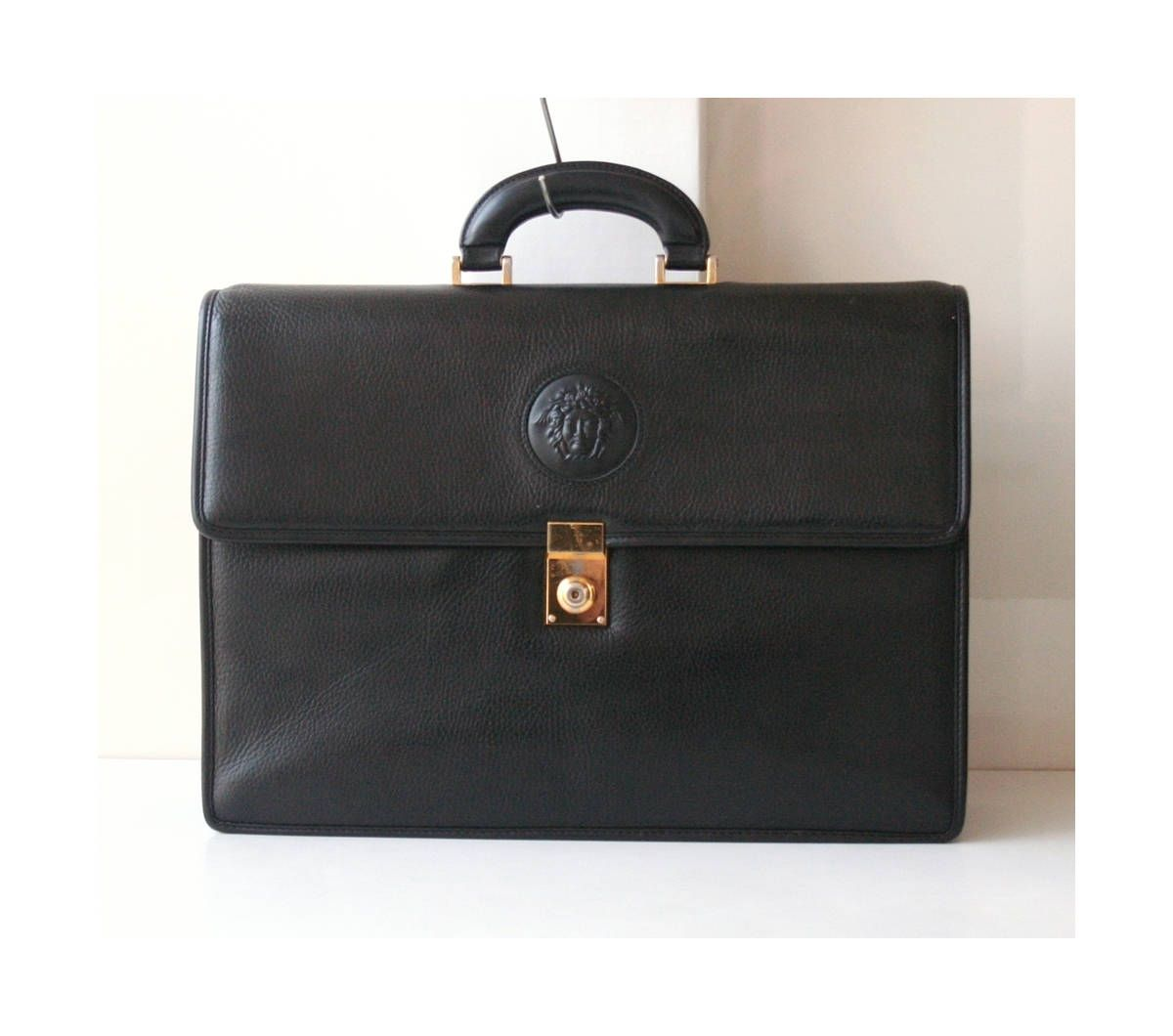 f8a6476fbc Gianni Versace Black Leather Briefcase vintage authentic Handbag Medusa by  hfvin on Etsy  versace  black  medusa  briefcase  handbag  hfvin