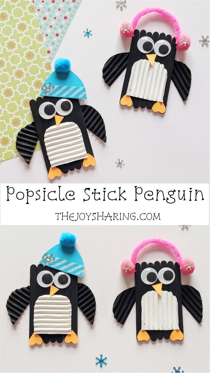 Popsicle Stick Penguin Craft (With images) Winter crafts