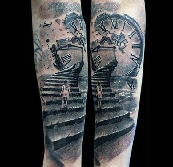 grandfather clock face tattoo. 80 clock tattoo designs for men timeless ink ideas grandfather face