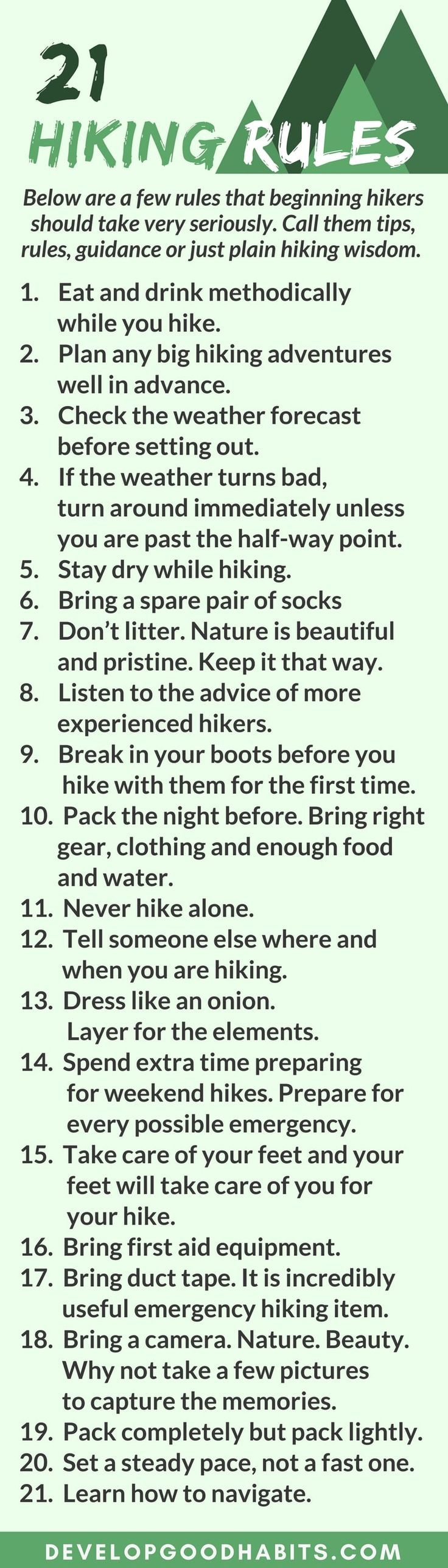 Hiking rules infographic. What do you need to know before your first hike. Learn how to get started...