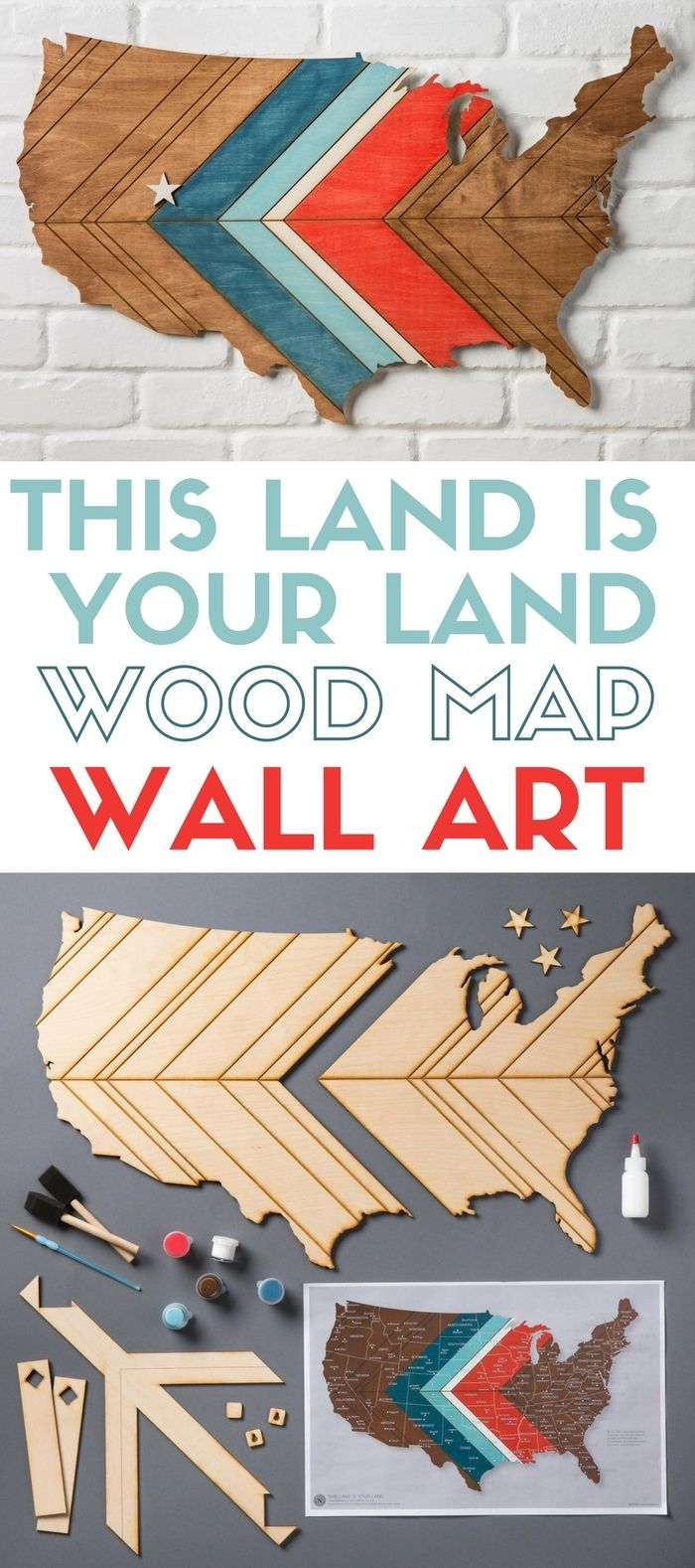 This land is your land apostrophe s craft kit wall art home create an american map for your patriotic home decor this diy craft kit from apostrophe s makes it quick and easy solutioingenieria Image collections