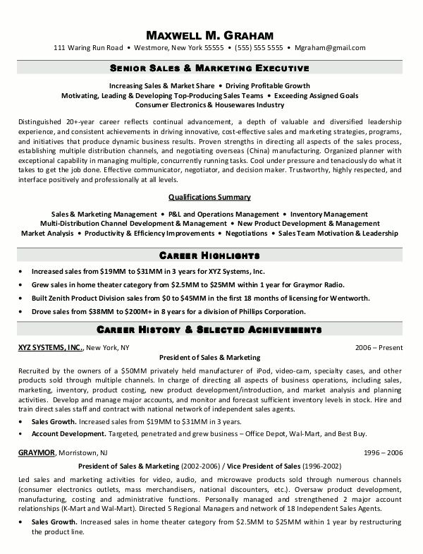 Sales Executive Resume Format - http\/\/jobresumesample\/1344 - sales manager resume templates