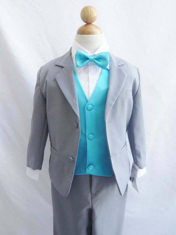 Brianna Clark Formal Boy Suit Gray With Turquoise Vest