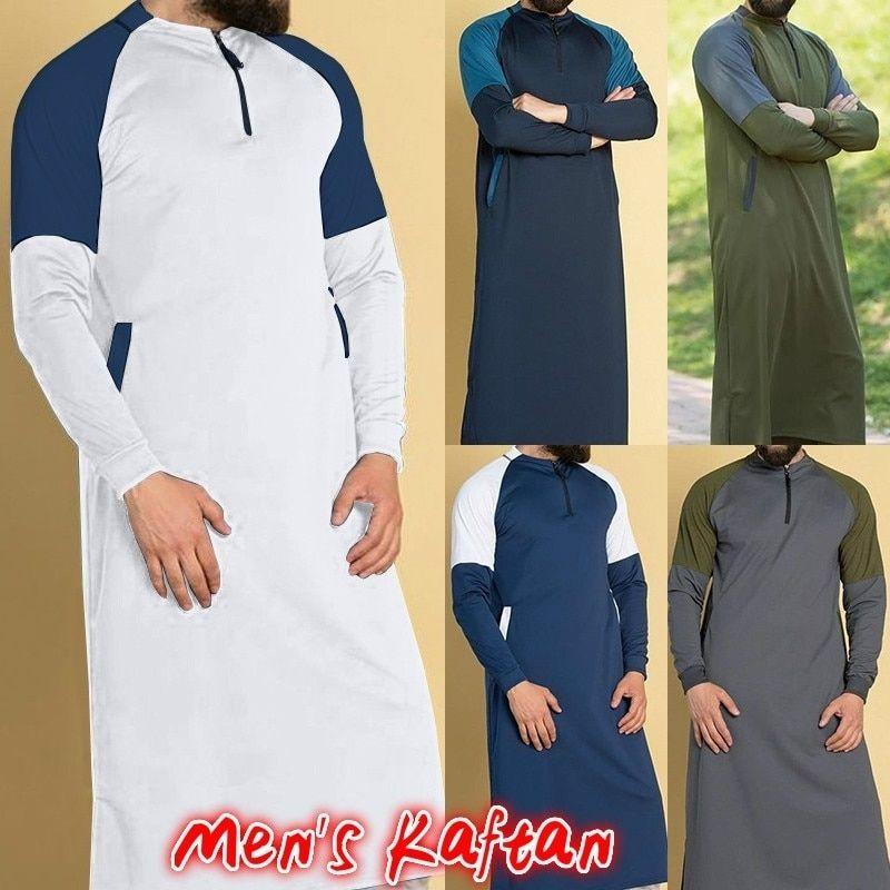 9c0db656a5774 2019 Men's Muslim Abaya Kaftan Dress Color Cloth Stitching Long Shirt Tops  Islamic Clothing for Men