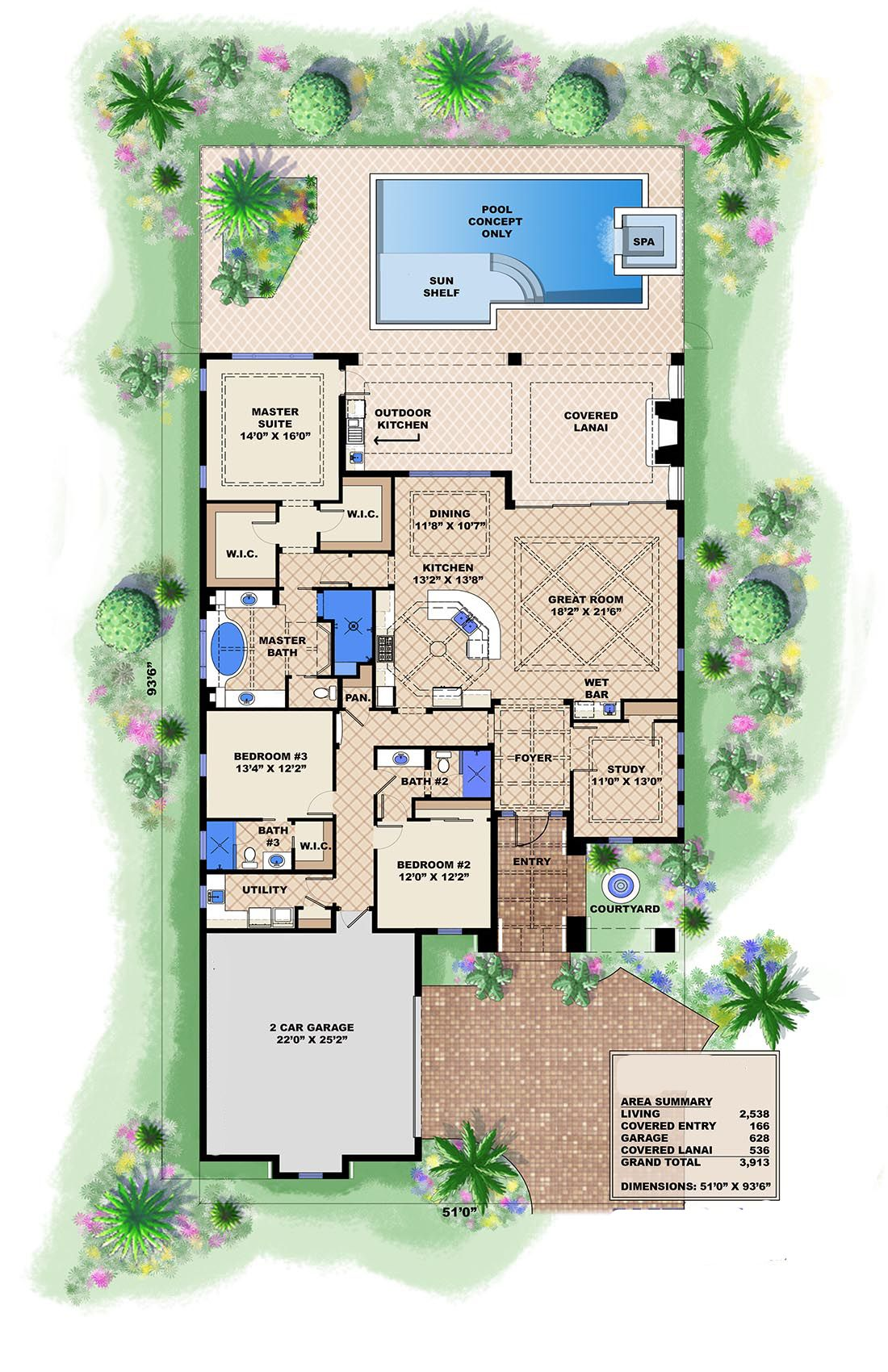 Spanish House Plan 175 1103 3 Bedrm 2583 Sq Ft Home Theplancollection Narrow Lot House Plans Florida House Plans Mediterranean House Plans