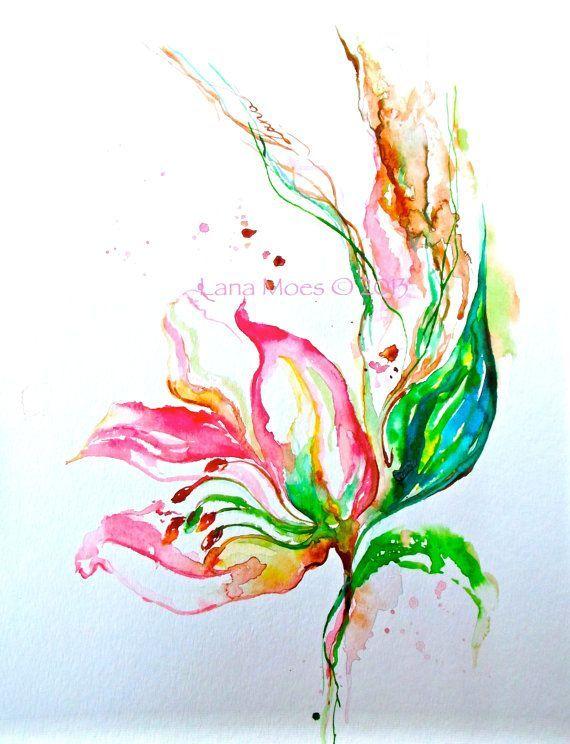 Watercolor paintings of lotus flowers pink flowers painting watercolor paintings of lotus flowers pink flowers painting abstract original watercolor coral sage mightylinksfo
