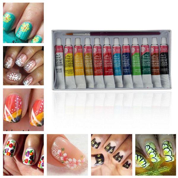 12 Colors Acrylic Nail Art Paint Set With Nail Art Brush ...