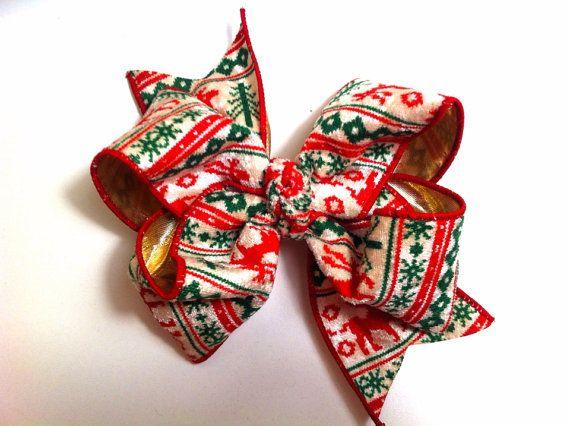 Big Christmas Hair Bow, Ugly Christmas Sweater Bow