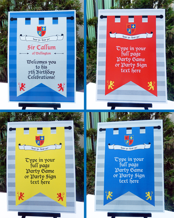 Knights Party Welcome & Party Signs