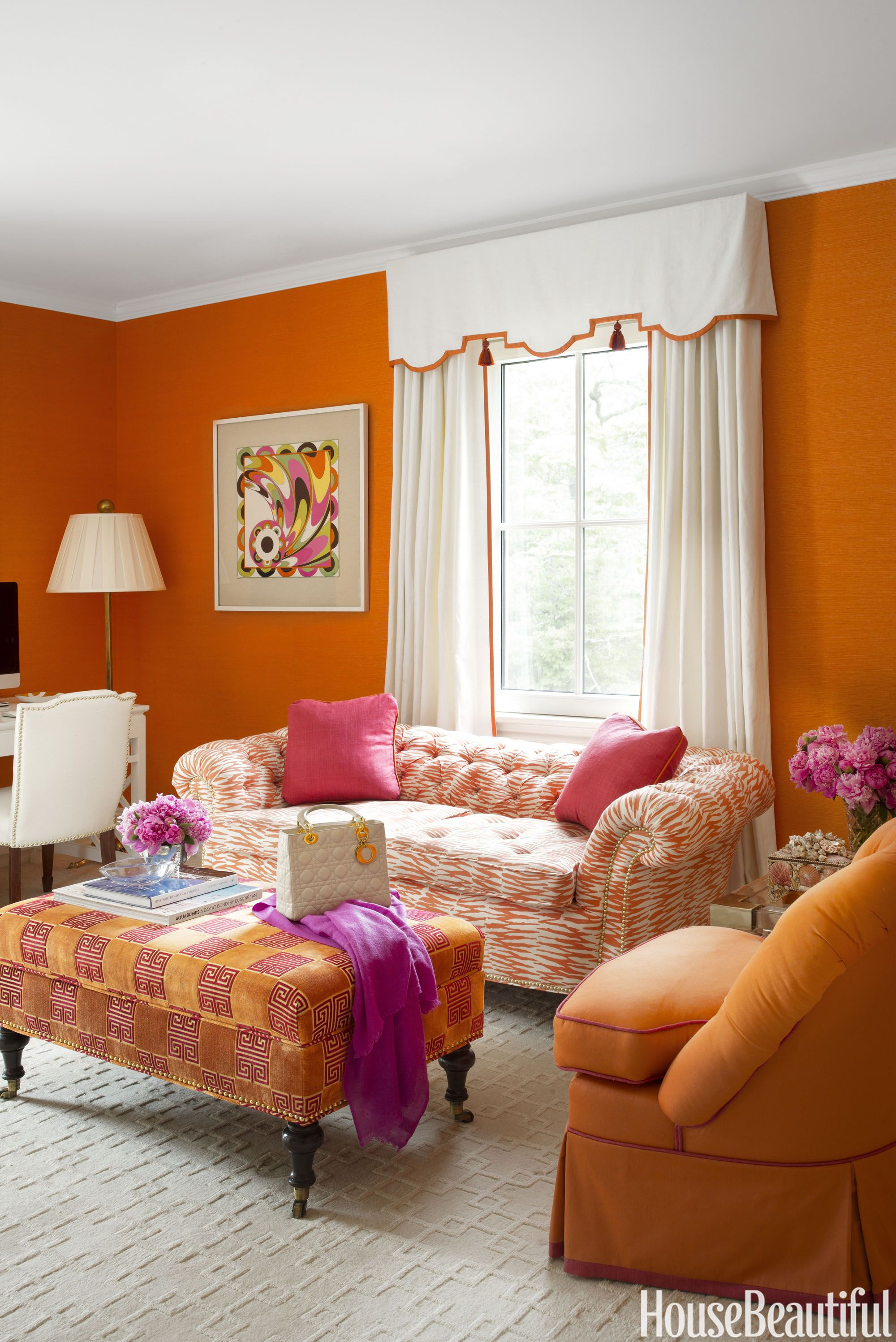 A Formal 1930s Home That Definitely Spins The Color Wheel Living Room Orange Decor House Colors