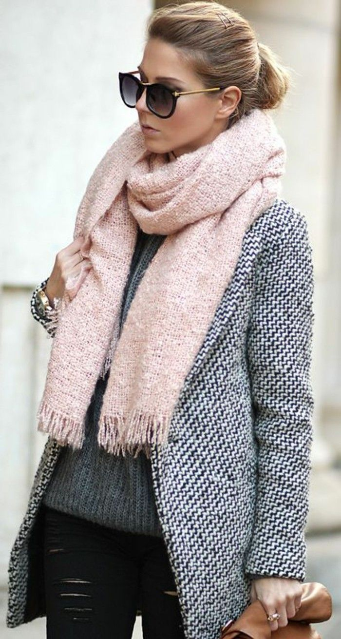 4777ac61aa3 1 joli echarpe en rose pour les femmes modernes rose gris lunettes de  soleil noir