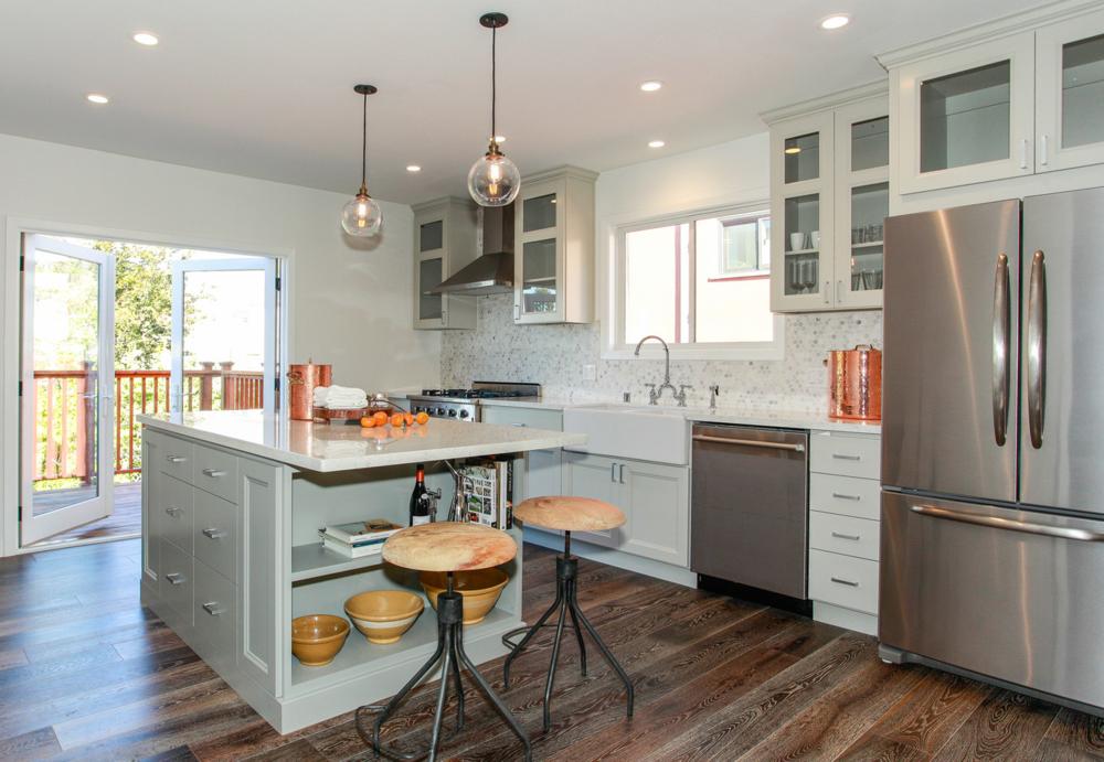 Custom locally made cabinets, farm house sink, marble ...