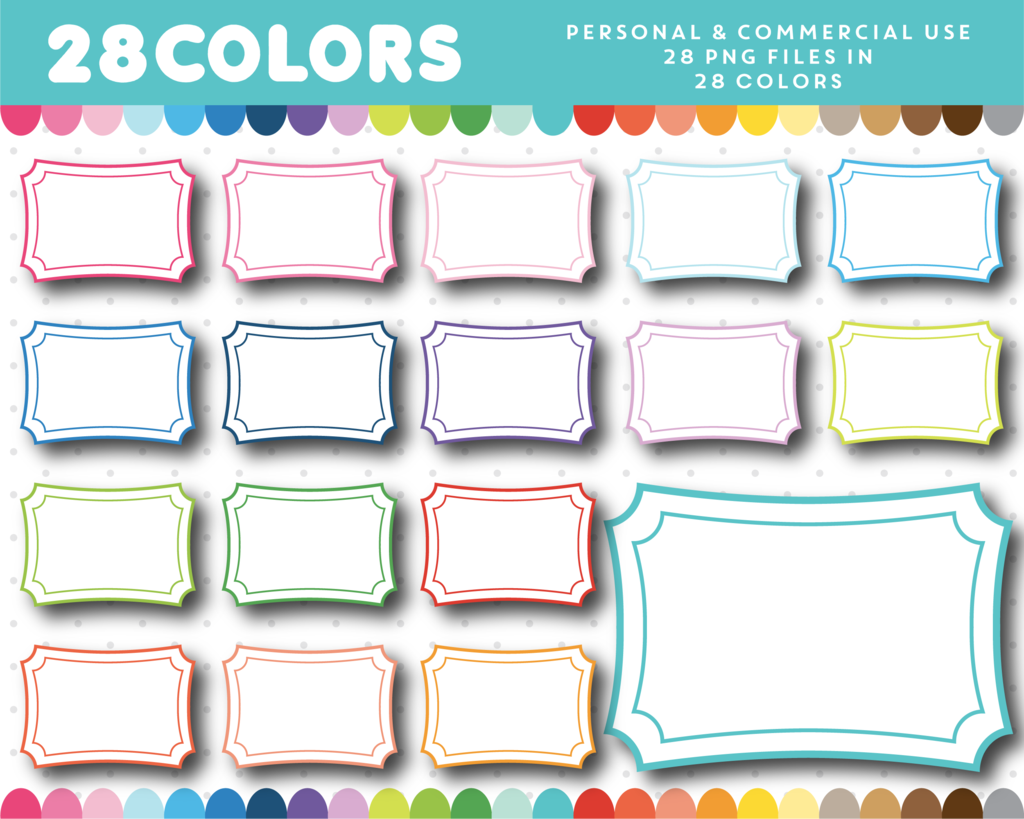 Square white clipart frames with colorful rainbow borders, CL-1156 ...