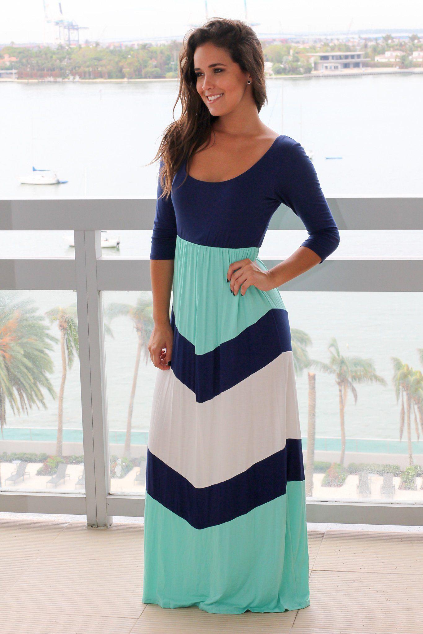Mint and navy chevron maxi dress with sleeves chevron maxi