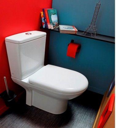 Déco WC peinture couleur rouge et bleu canard sol gris | Coins and ...