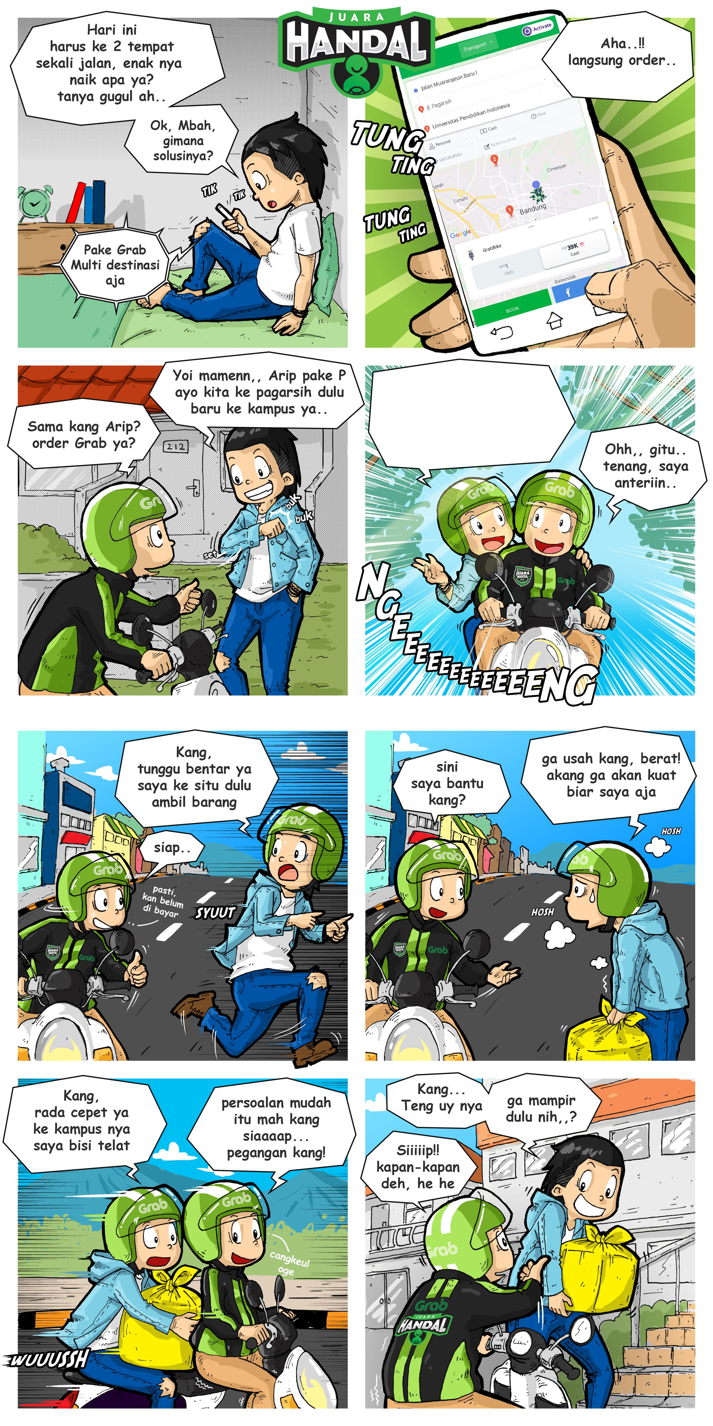 Making Comics For Online Transportation About One Of The Features Of Grab Indonesia Juara Persamaan