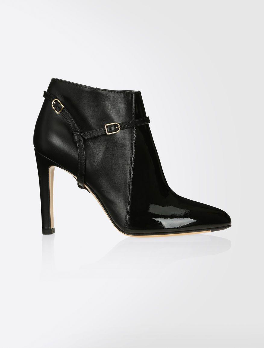 ba3c839c06e Max Mara VADIUS black  Patent and leather ankle boots.