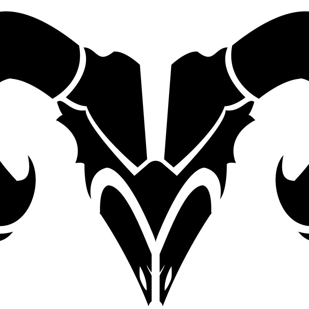 Awesome Aries Tattoo Designs: Awesome Black Tribal Aries Head Tattoo Design