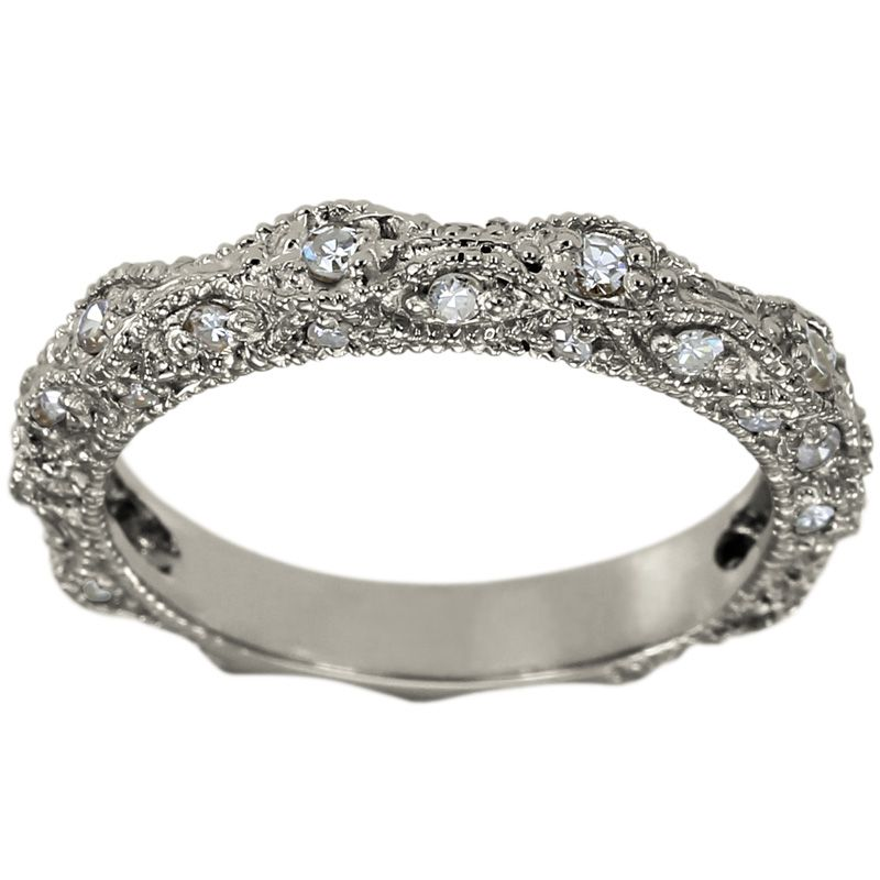 Diamond Wedding Band In 14k White Gold With A Victorian Ring Style And Milgrain