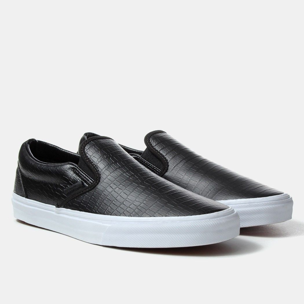 black vans classic slip on croc leather