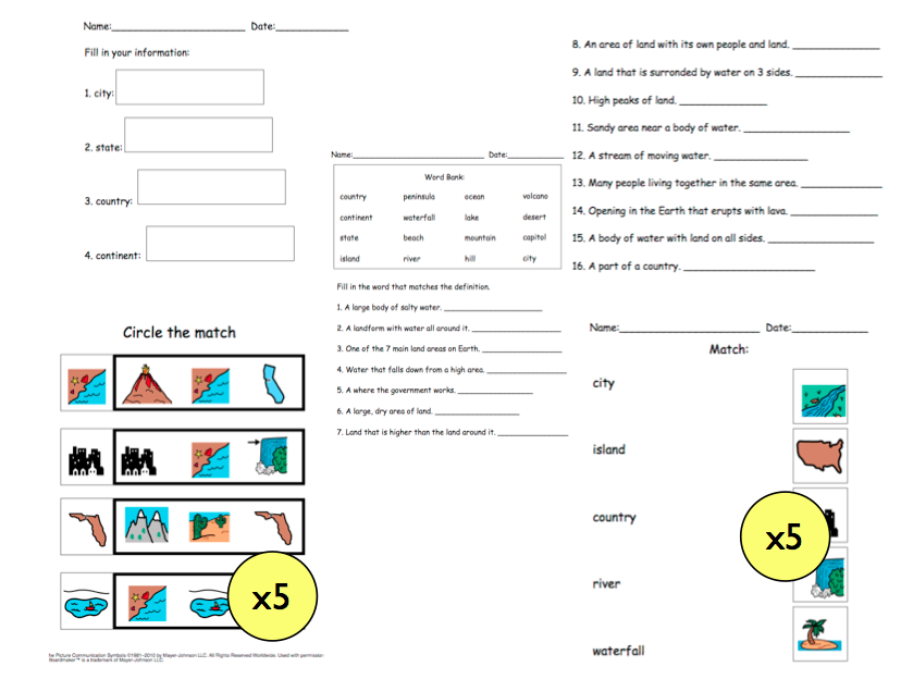 Geography Unit for Children with Special Needs | Worksheets and ...