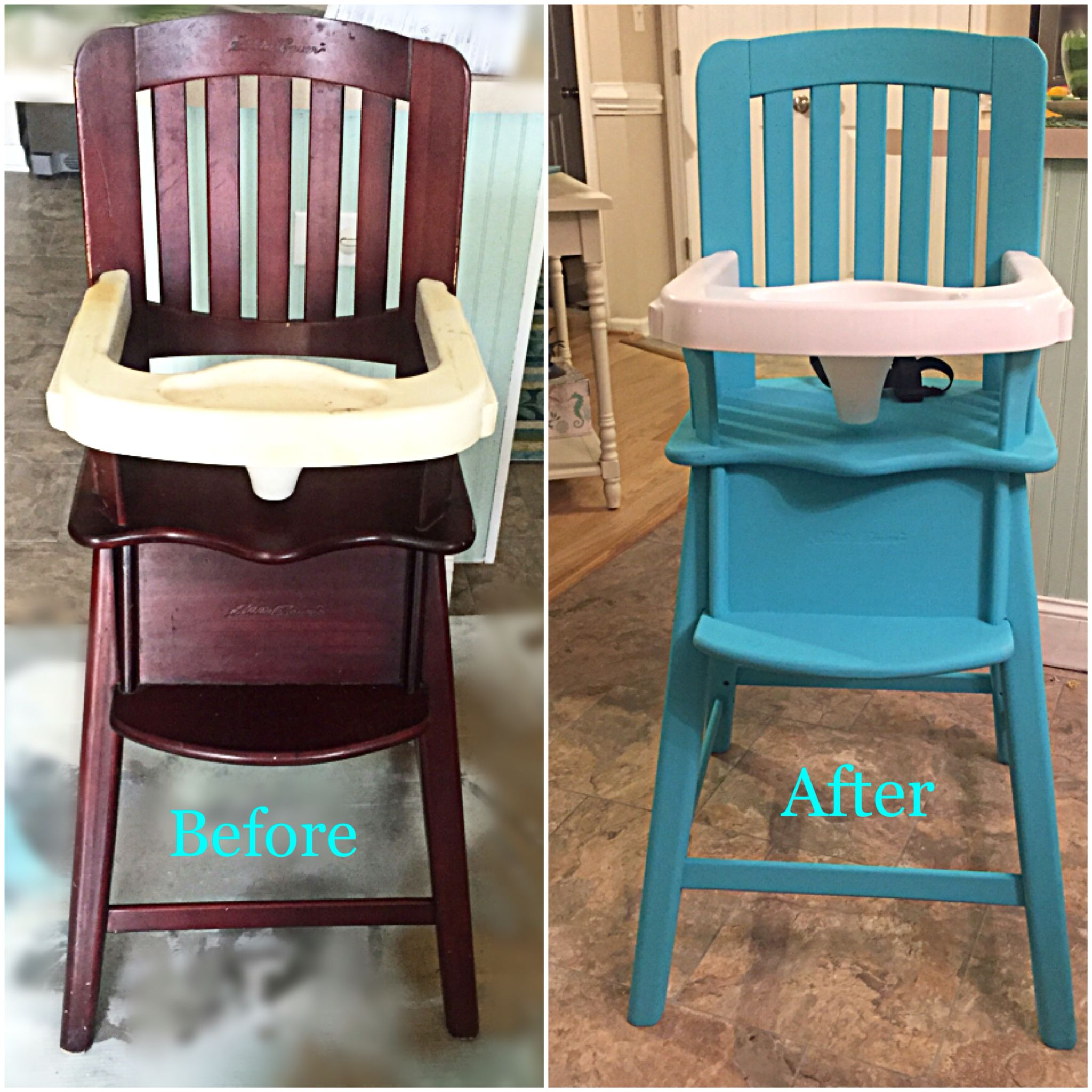 eddie bauer high chairs swivel gaming reece s chair makeover with chalk paint