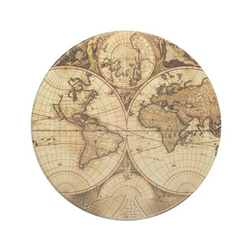 Vintage World Map Drink Coaster | Paying Attention To The Details ...