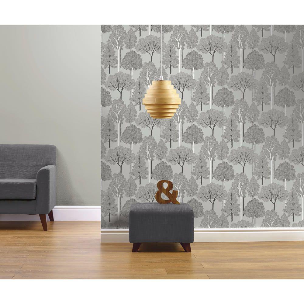 Elwood Silver Wallpaper For Living Room Even Has Glitter On S