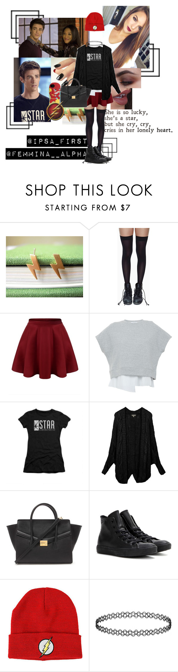 """S.T.A.R. Labs!♡"" by femminaalfa ❤ liked on Polyvore featuring Leg Avenue, 10 Crosby Derek Lam, LE3NO, Forever 21, Converse, women's clothing, women's fashion, women, female and woman"