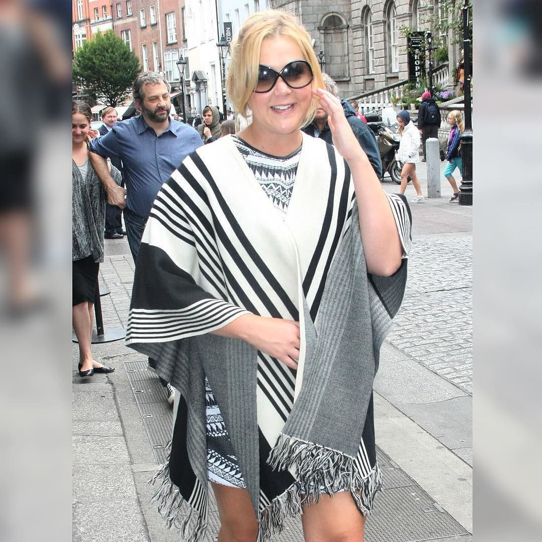 BABE @amyschumer rocking our #Forever21 Sweater Poncho in #Dublin 😍😍😍 (shop link in bio)