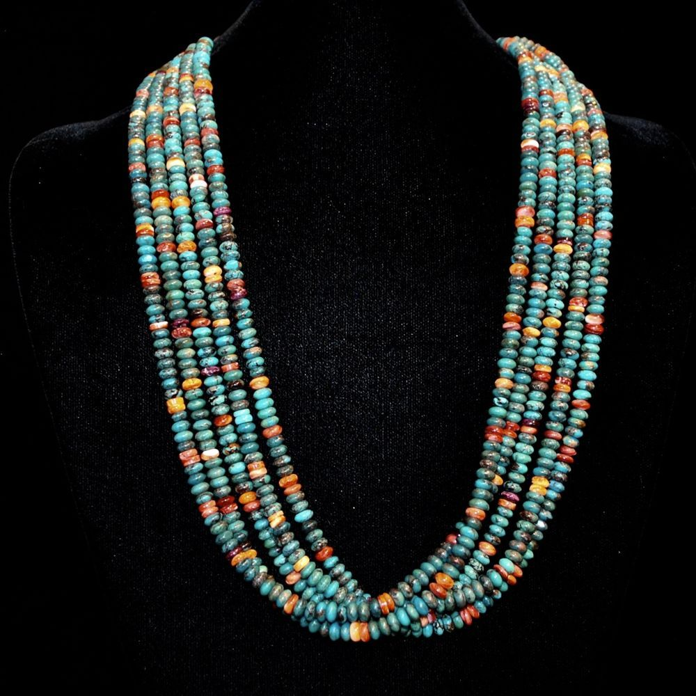 Turquoise & Spiny Oyster Shell Necklace by Kenneth Aguilar, Santa Domingo Pueblo