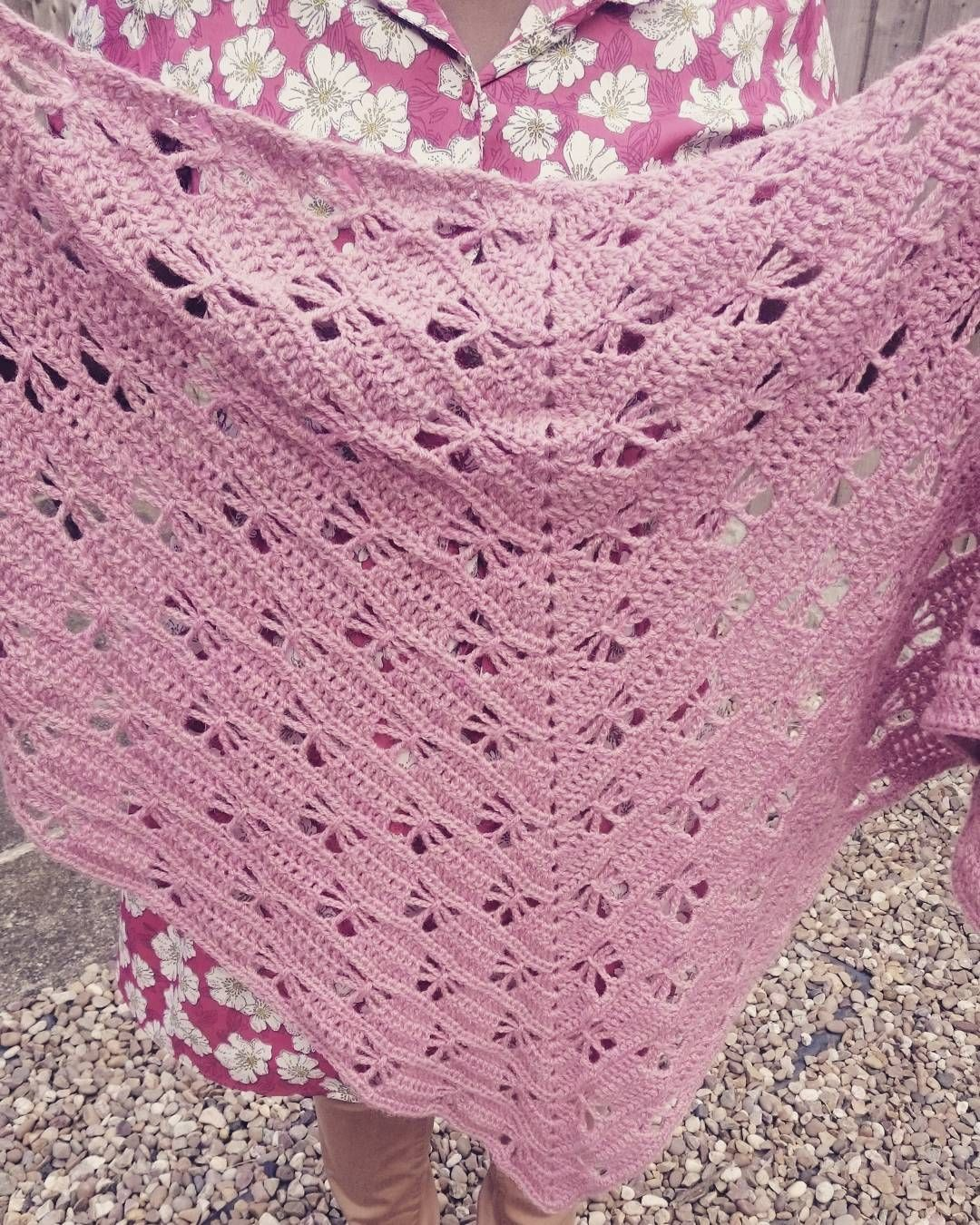 eccentricbrownbear6542:- The shawl is finally ready to wear now I'm pondering whether or not to start crocheting a cardigan or a blanket!? #crochet  #crochetshawl