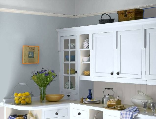 kitchen painted in fleetwood paint's warm grey. some complimentary