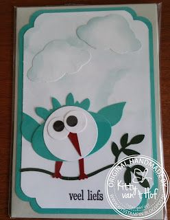 KIT's Cards: Punch art, Stampin'Up!, stampin up, Bird Builder Punch, Tree Builder Punch, Er is er een jarig, hoera, hoera.