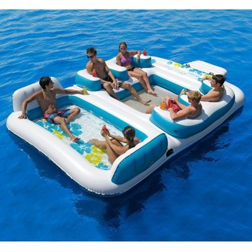6 Person Inflatable Blue Lagoon Pool Float Raft Lake River Floating Island Inflatable Floating Island Lake Floats Inflatable Island