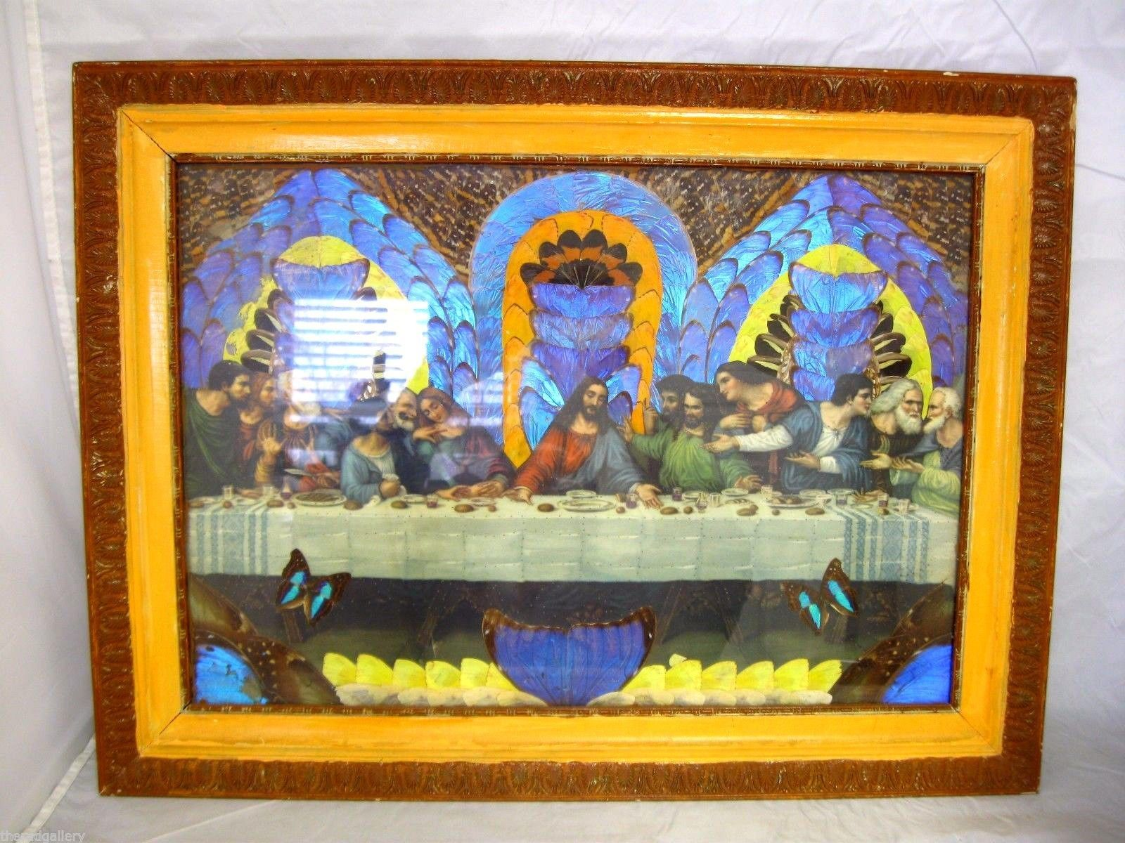 Vintage Last Supper Art Created With Iridescent Butterfly