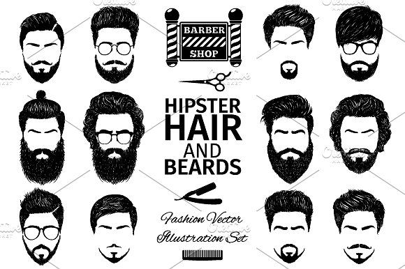 A set of mens hairstyles , Graphics