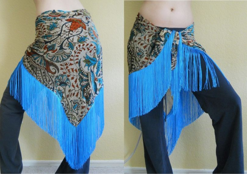 Fringed Silk Burnout Velvet Hip Scarf - Painted Lady Clothiers